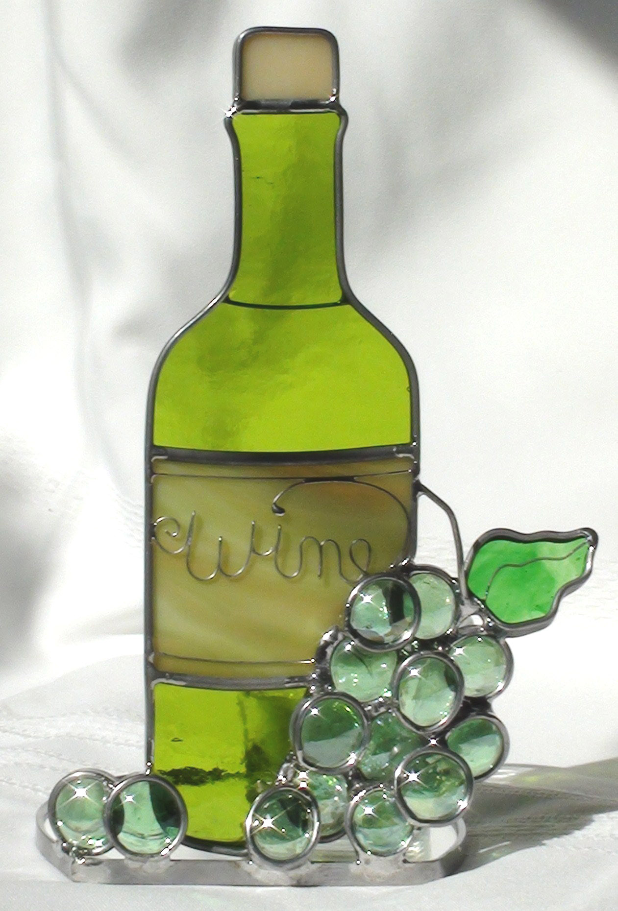 Wine bottle grapes wine candle holder green stained for Wine bottle candle holder craft