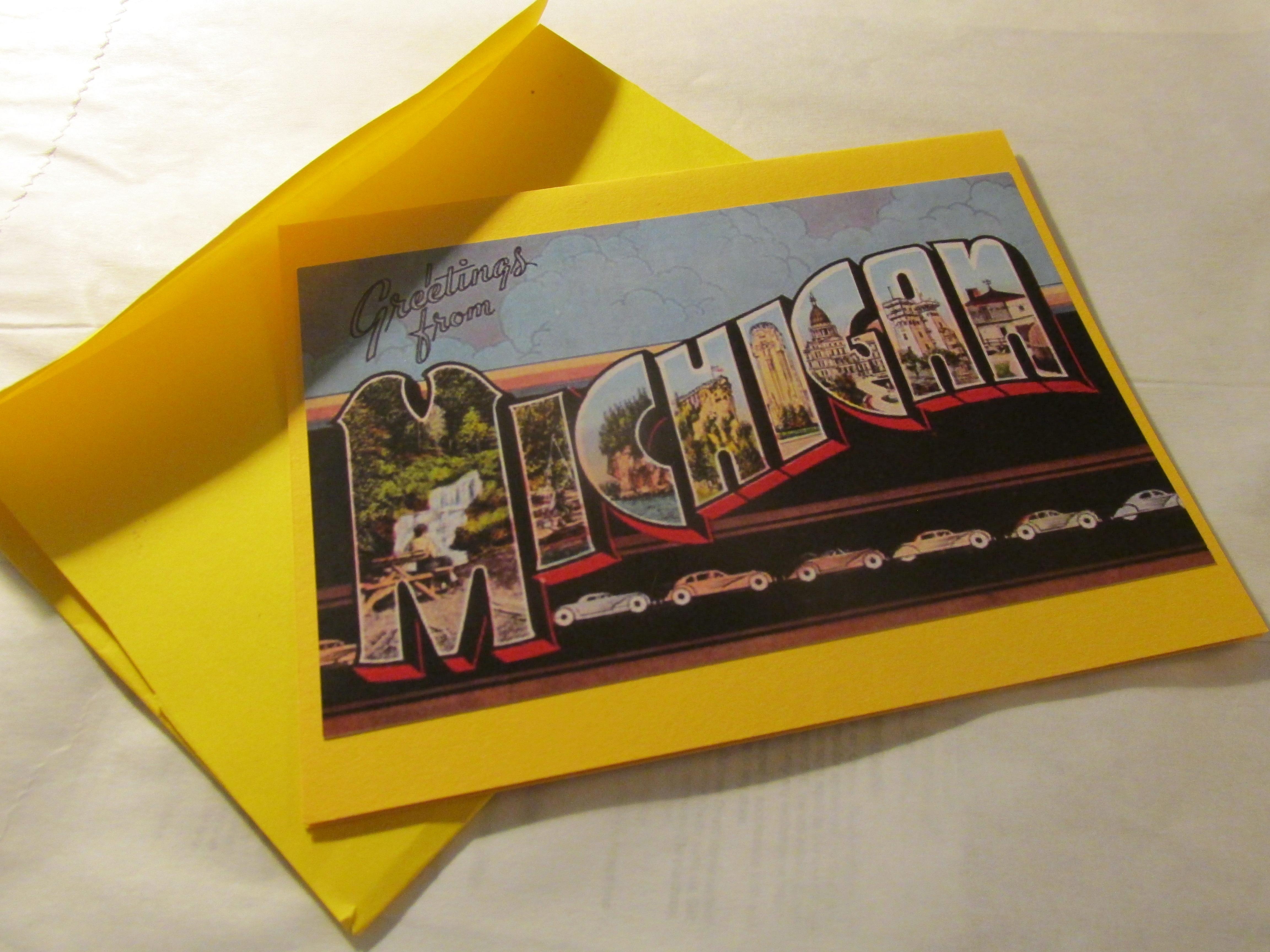 Michigan postcard greeting card cards greetings from michigan postcard greeting card cards greetings from michigan midwest craft connection m4hsunfo